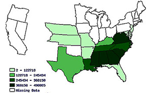 Historical Census Browser - Map of us states 1860 slave