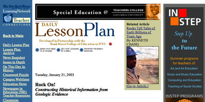 new york times daily lesson plan and archive