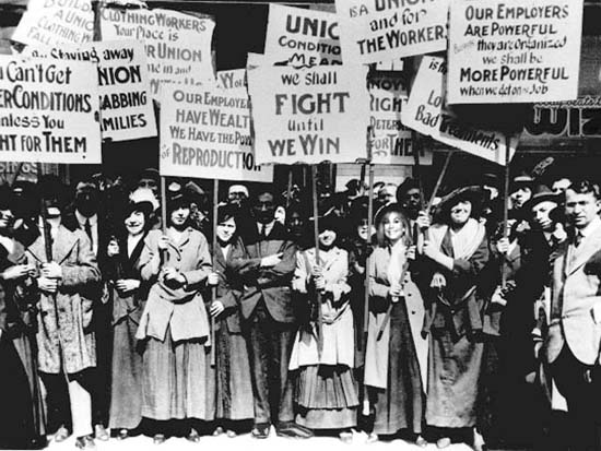 Women workers on strike.