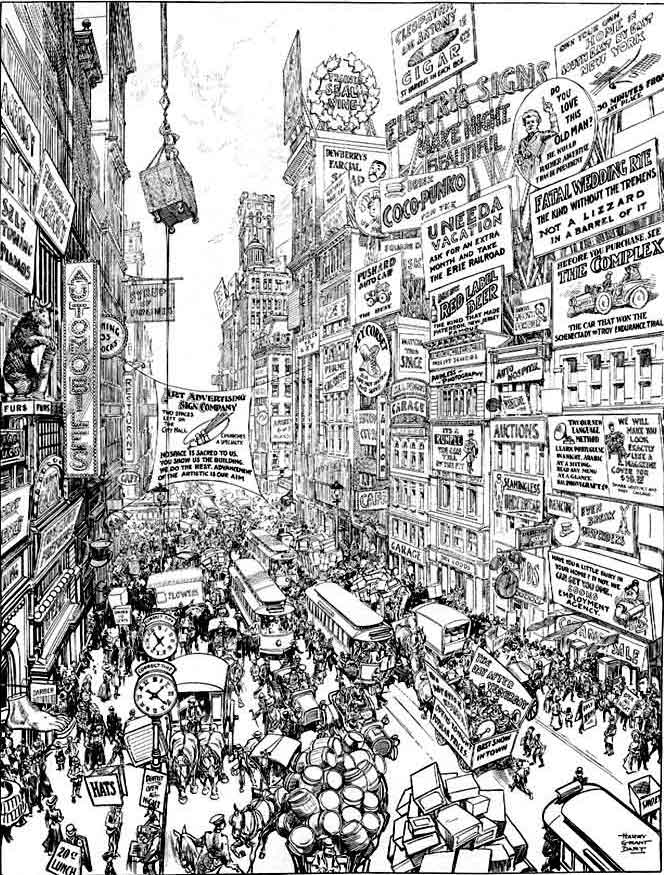 Illustrator Harry Grant Dart's vision of the increasingly aggressive and intrusive character of advertising in turn-of-the-century America appeared in a 1909 issue of Life. During this period, the growth of mass production and mass marketing changed the way consumer goods were bought and sold. Information about products now came not from those who made or sold them, but from persuasive advertisements trying to create brand recognition and brand loyalty. Advertisements moved out of separate sections in the back of magazines, as the newest periodicals featured full-page ads and depended upon advertising, rather than subscriptions, for their revenue. Coordinated advertising campaigns using billboards, store displays, and electric signs, became common.